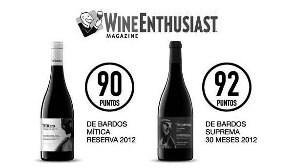 Más de 90 puntos Wine Enthusiast para De Bardos