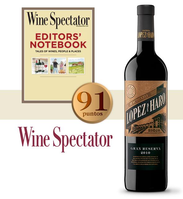 Hacienda López de Haro Gran Reserva 2010, 91 puntos en Wine Spectator
